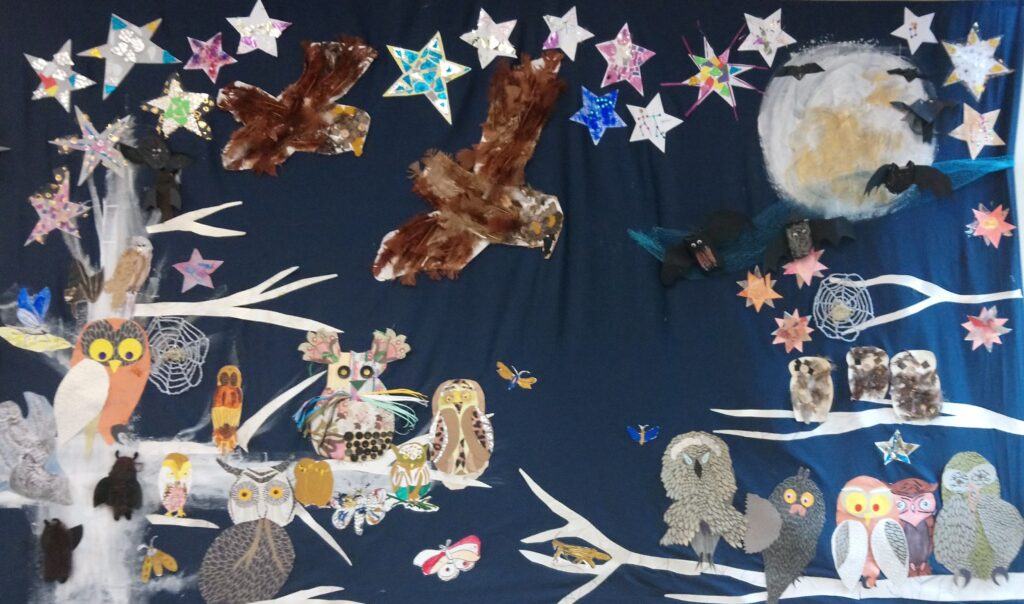 """""""Starry Night"""", a collage completed in 2019 by older people in care homes and the community, preschool groups and homeless people"""